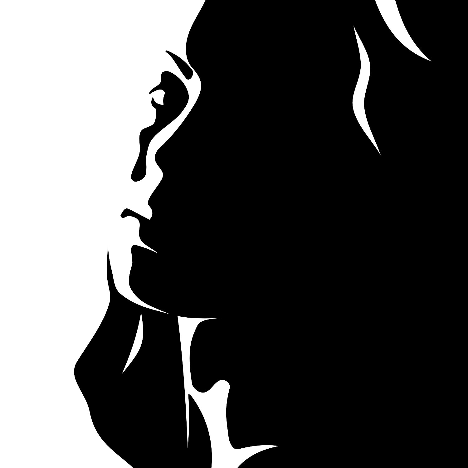 1500x1500 Girl Drawing Silhouette For Free Download