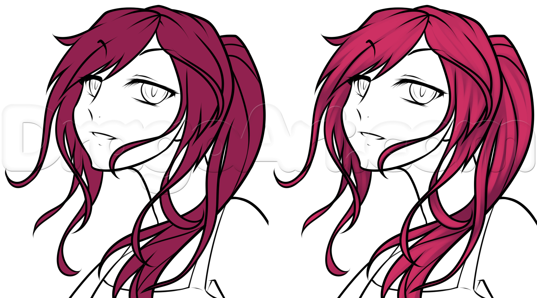 1736x962 Anime Girl Drawing Face Drawing An Anime Girl Face, Stepstep
