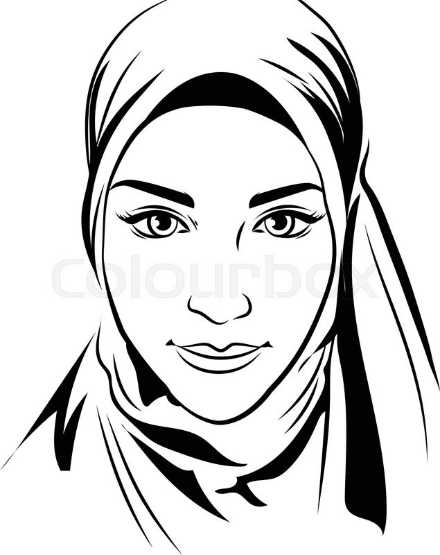 635x800 Portrait Of Muslim Beautiful Girl In Stock Vector Colourbox