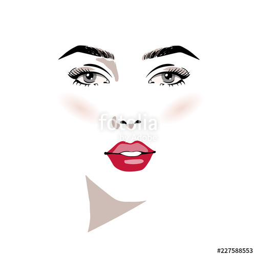 500x500 Beautiful Woman Face With Make Up Hand Drawn Vector Illustration