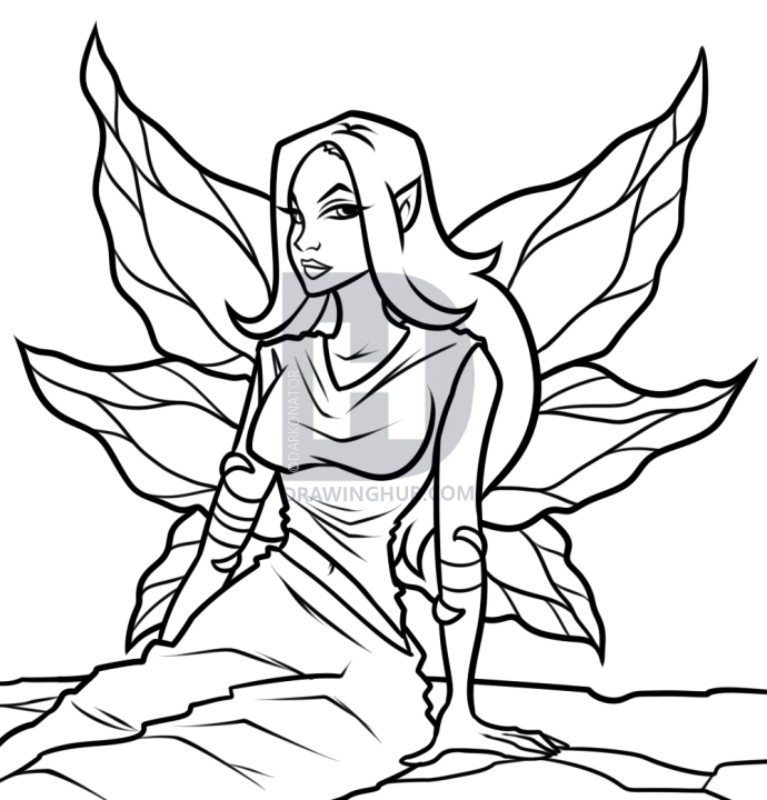 690x720 How To Draw A Fairy Princess, Step