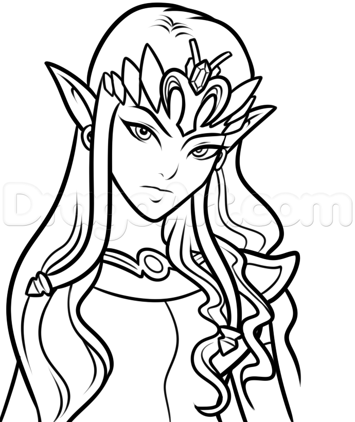 690x821 Step Drawing Princess Zelda Easy