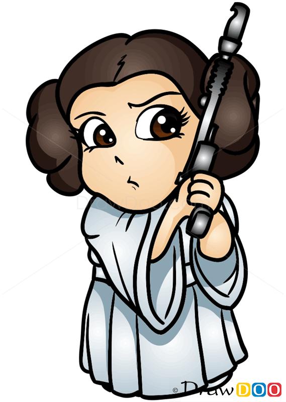 569x800 How To Draw Princess Leya, Chibi Star Wars