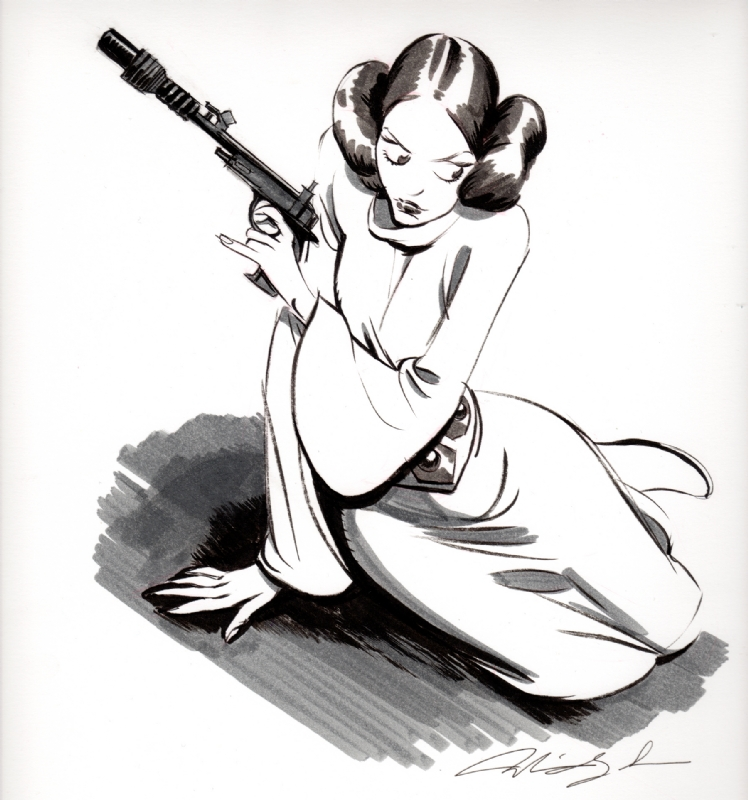 748x800 princess leia, in adam daughhetee's star wars comic art gallery room