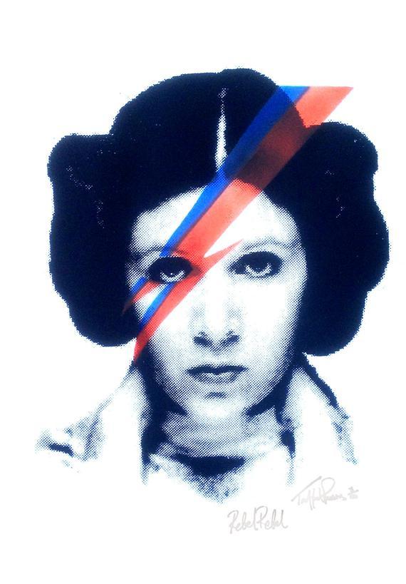 570x819 Princess Leia Carrie Fisher Star Wars Screen Print Art Pop Etsy