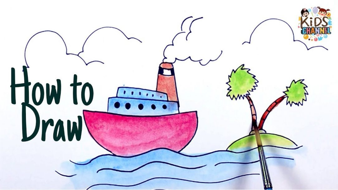 1084x610 Cruise Ship Cartoon Drawing Technical Line Outline Pictures