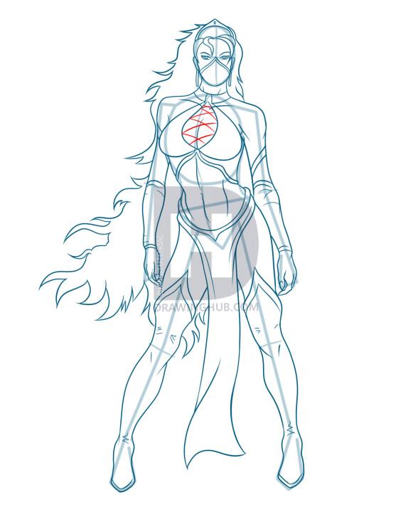 588x720 How To Draw Kitana, Mortal Kombat, Princess Kitana, Step
