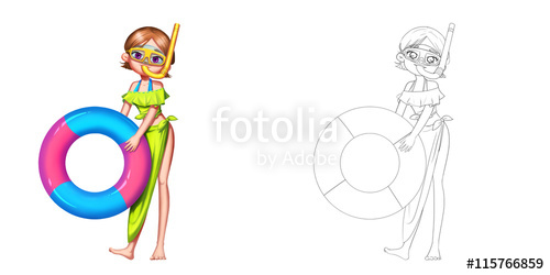 500x250 Princess The Diver Princess With A Swimming Ring Coloring