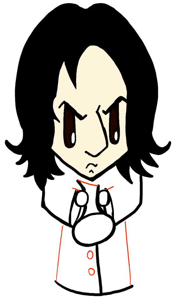 600x1029 How To Draw Cute Chibi Severus Snape From Harry Potter In Easy