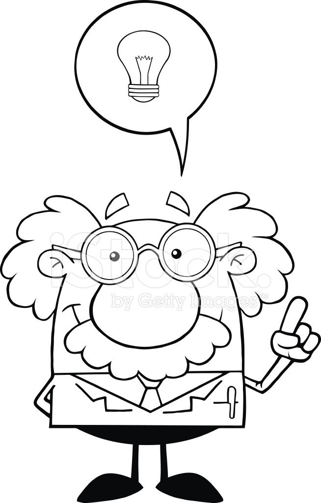 654x1024 Black And White Smiling Professor With Good Idea Stock Vector