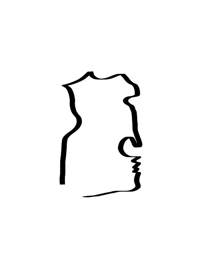 675x900 Face Profile Black On White Drawn Print Drawing