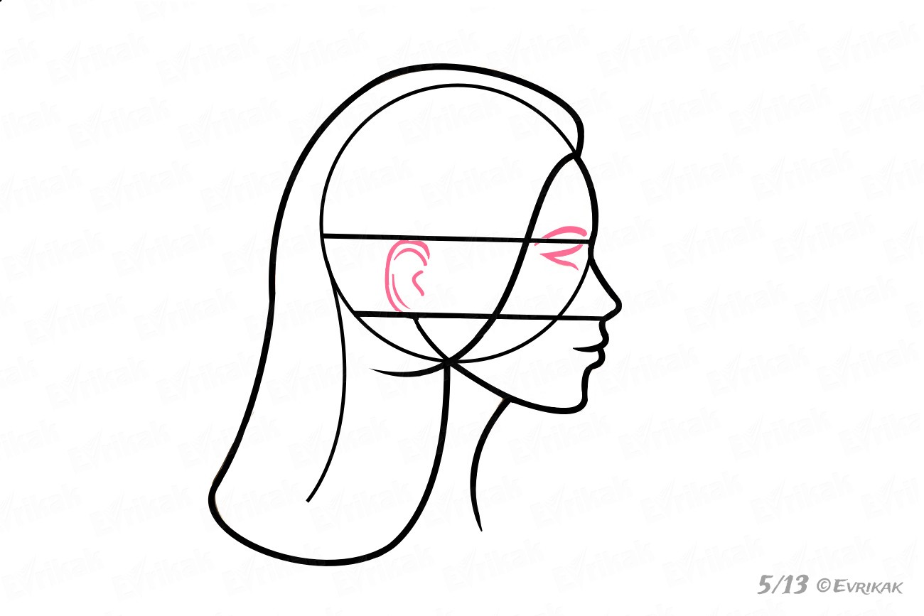 1300x867 How To Draw A Woman's Face In Profile Step