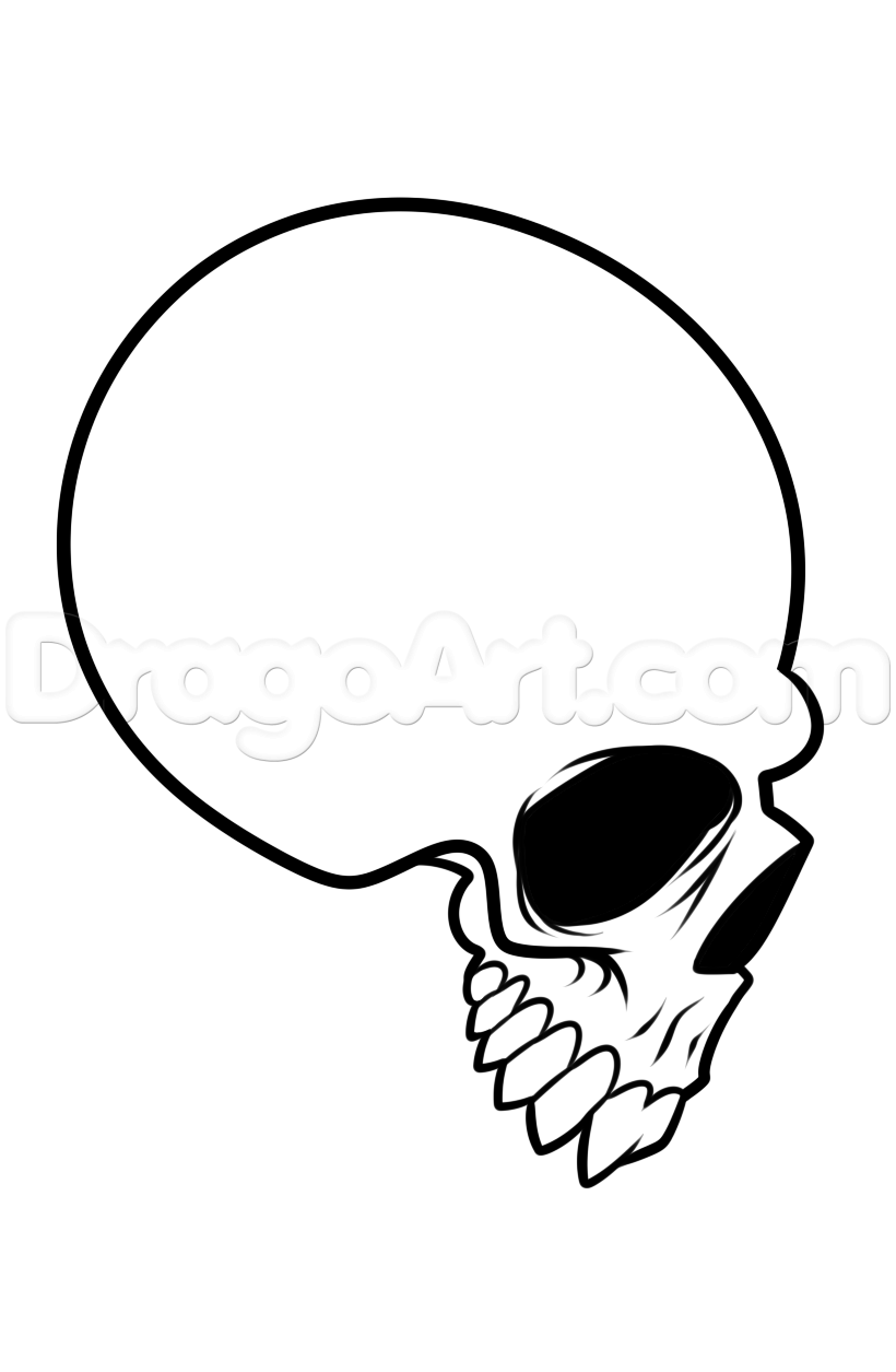 820x1255 Step How To Draw A Skull Profile