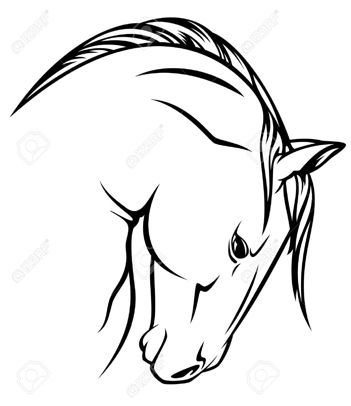 1124x1300 Stock Vector Zentangle Horse Profile, Horse Outline, Outline