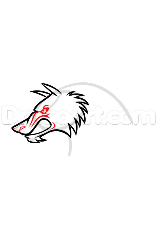 640x960 Werewolf Profile Drawing Lesson, Step