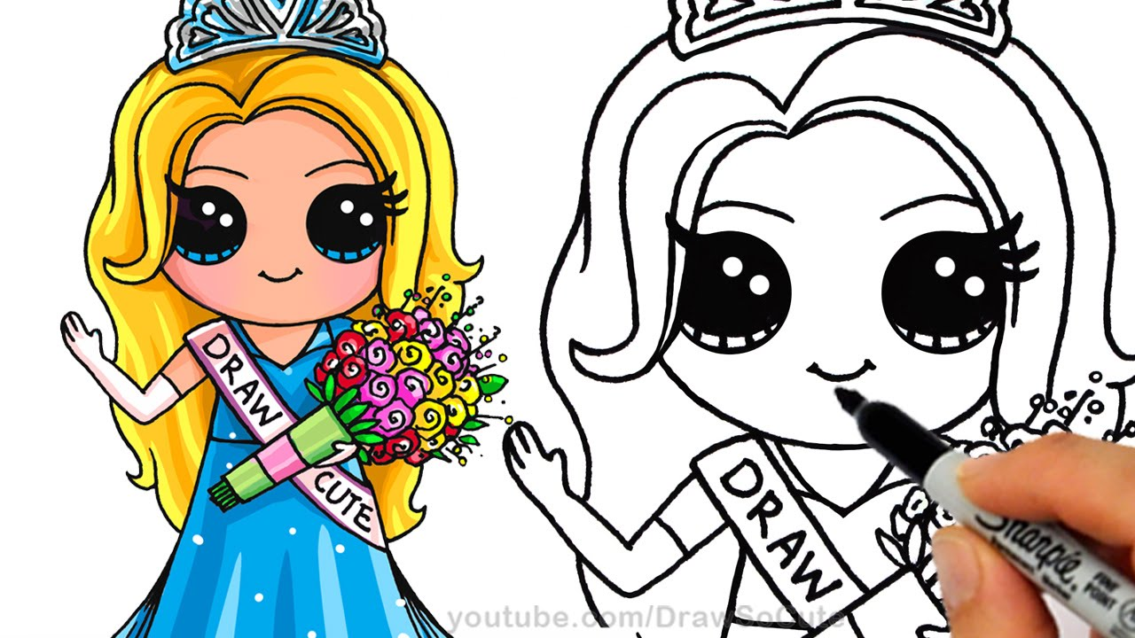 1280x720 How To Draw A Pretty Girl With Crown And Beautiful Dress Cute Step