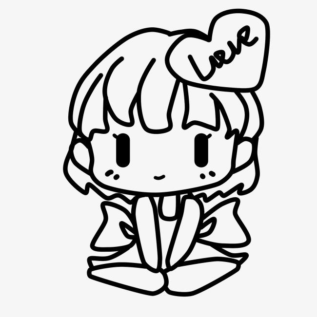 650x651 Hand Drawn Line Drawing Love Girl Illustration Image