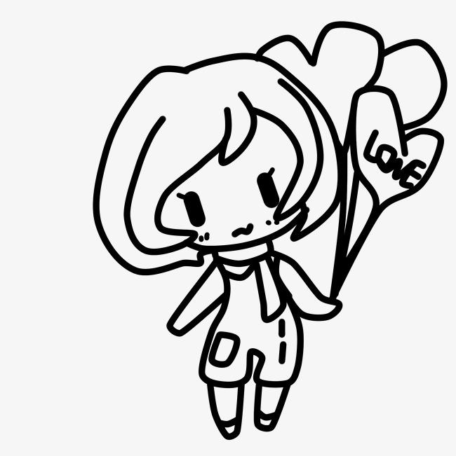 650x651 Red Cartoon Line Drawing Love Illustration Image