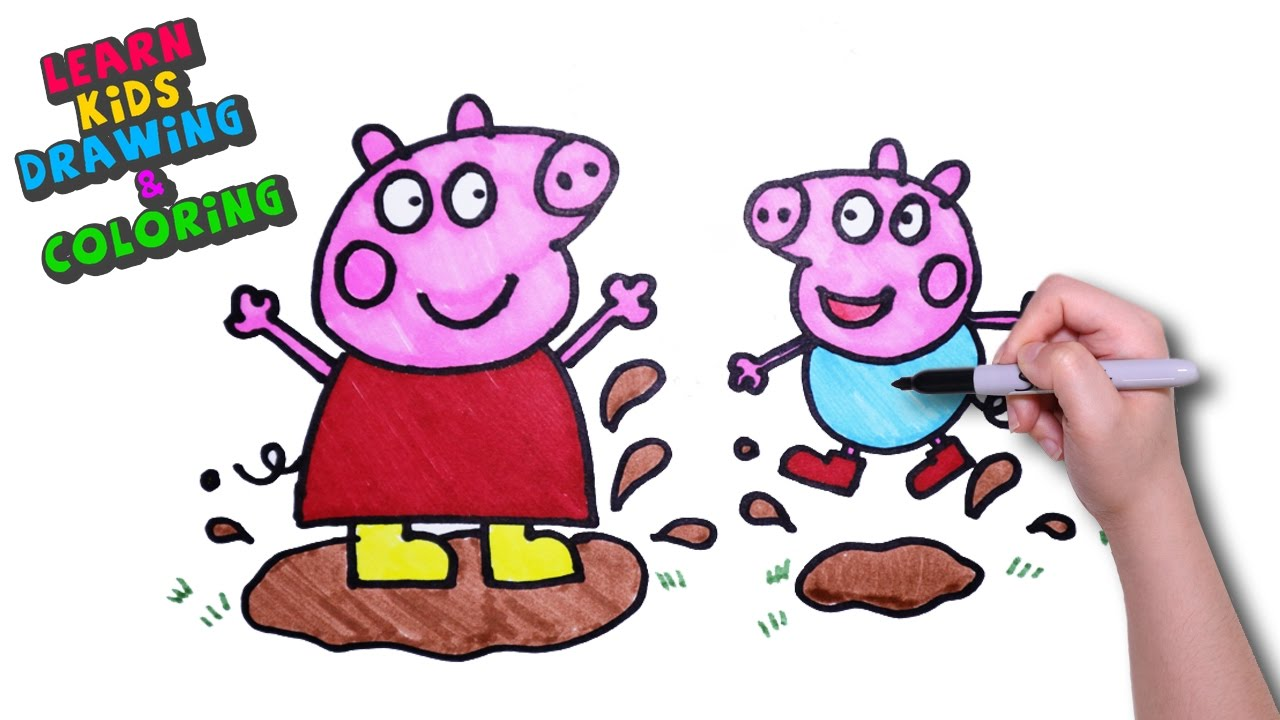 1280x720 peppa pig learn kids drawing coloring peppa pig playing