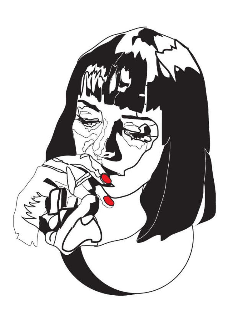 794x1058 Light Me Up Mia Wallace Pulp Fiction Black And White Etsy