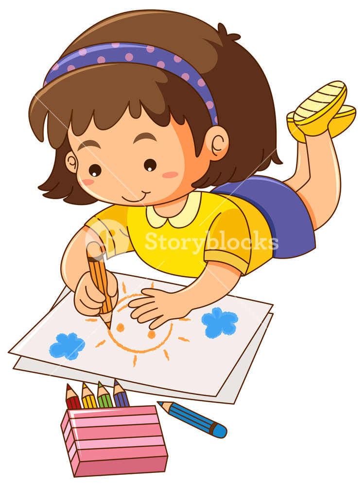 749x1000 Little Girl Drawing Sun On Paper Royalty Free Stock Image