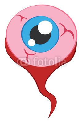 266x400 clipart of an eyeball representing its parts like veins blue pupil