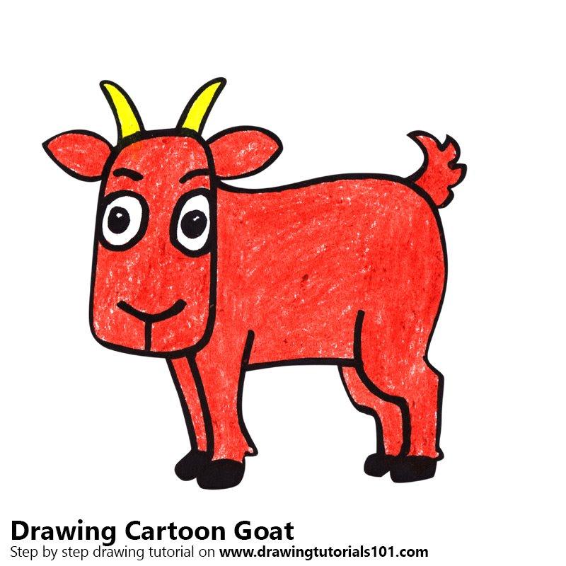 800x800 Cartoon Goat Colored Pencils