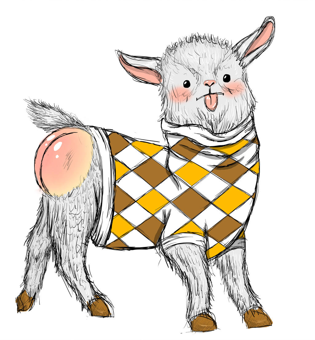 1024x1107 Pygmy Goat In Argyle Sweater With Tongue Out