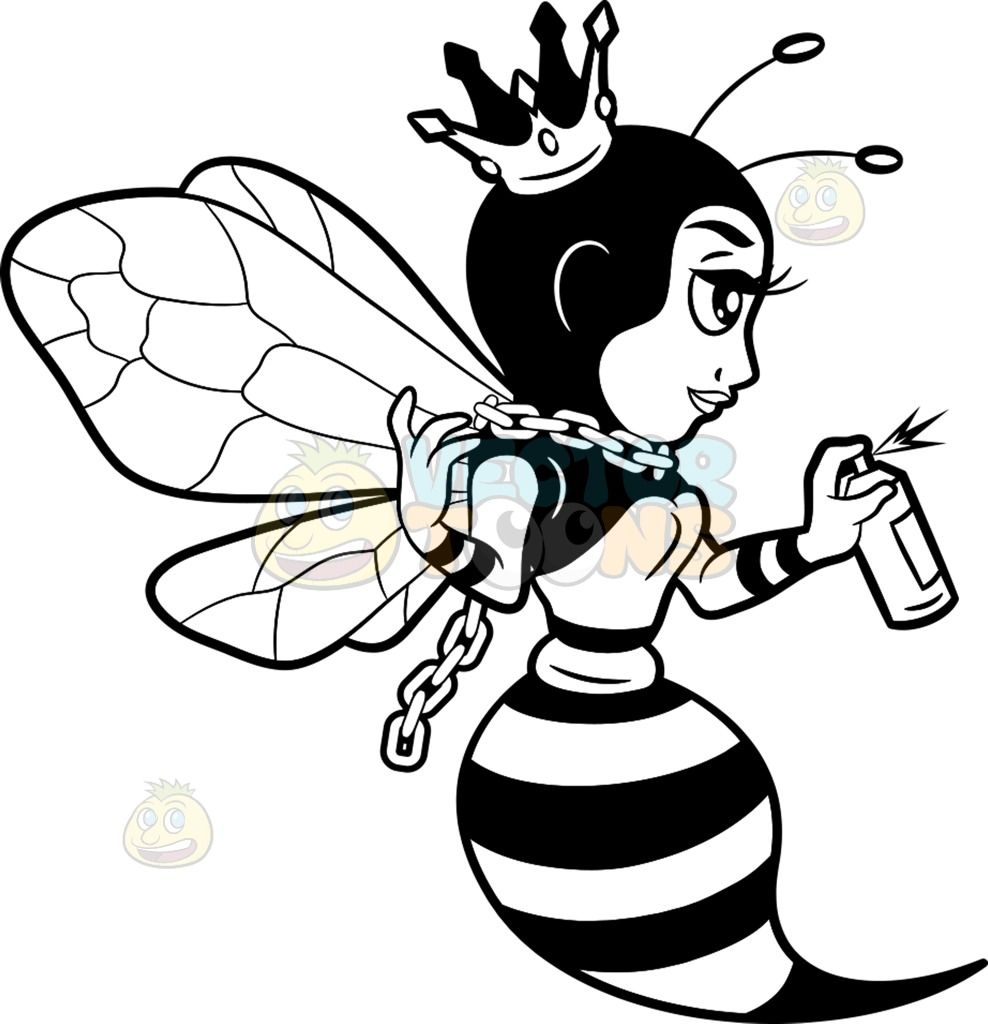 988x1024 A Queen Bee Spray Painting The Wall A Black And White Cartoon