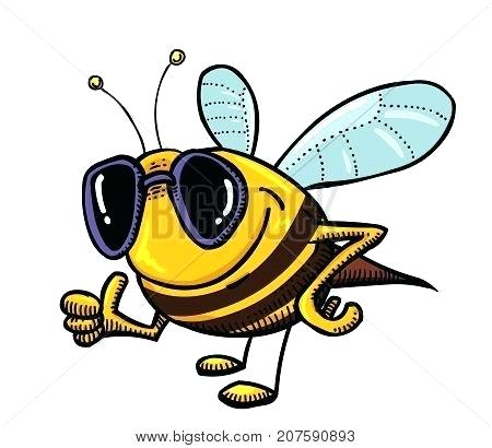 450x410 Bee Cartoon Drawing Funny Bee Wearing Sunglasses Cartoon Image