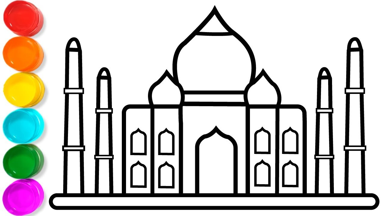1280x720 How To Draw Taj Mahal Coloring Pages For Kids
