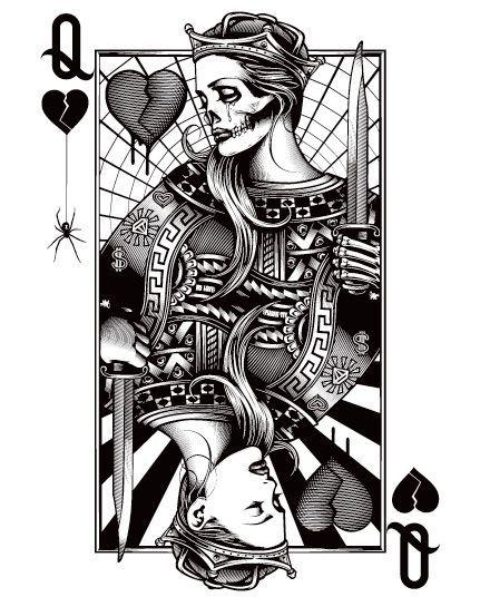 431x536 King Card Vector Art Monochrome Tattoo