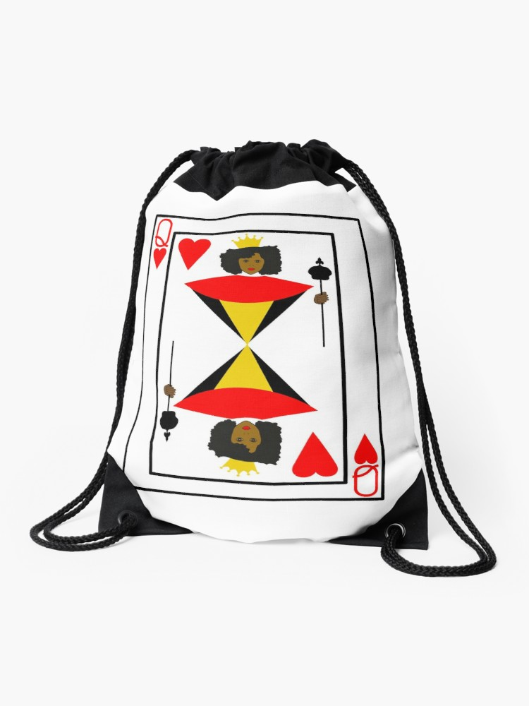 750x1000 Black Queen Of Hearts Playing Card Drawstring Bag