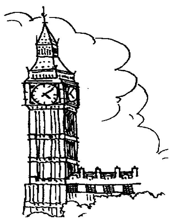 600x788 Drawing London Clock Tower Coloring Pages