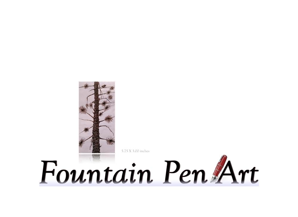 1000x729 Fountain Pen Drawing Art Beach Tree With Bird Moto Save Earth