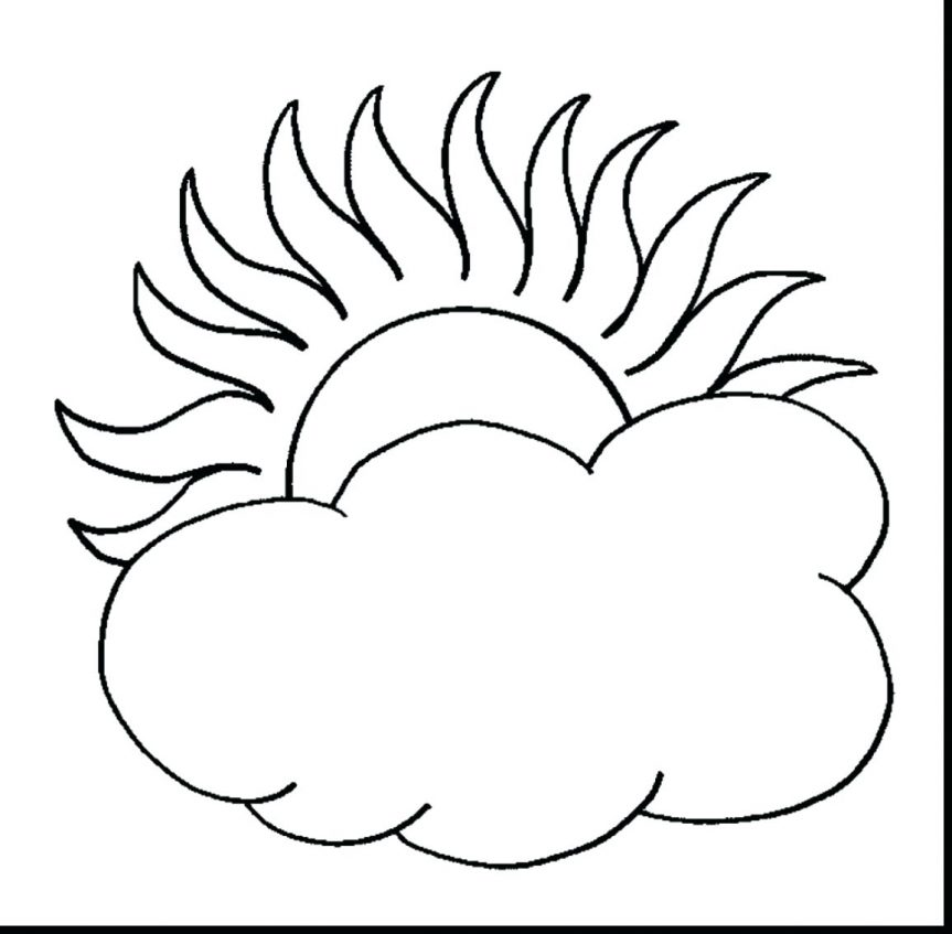 863x847 Sun And Clouds Drawing