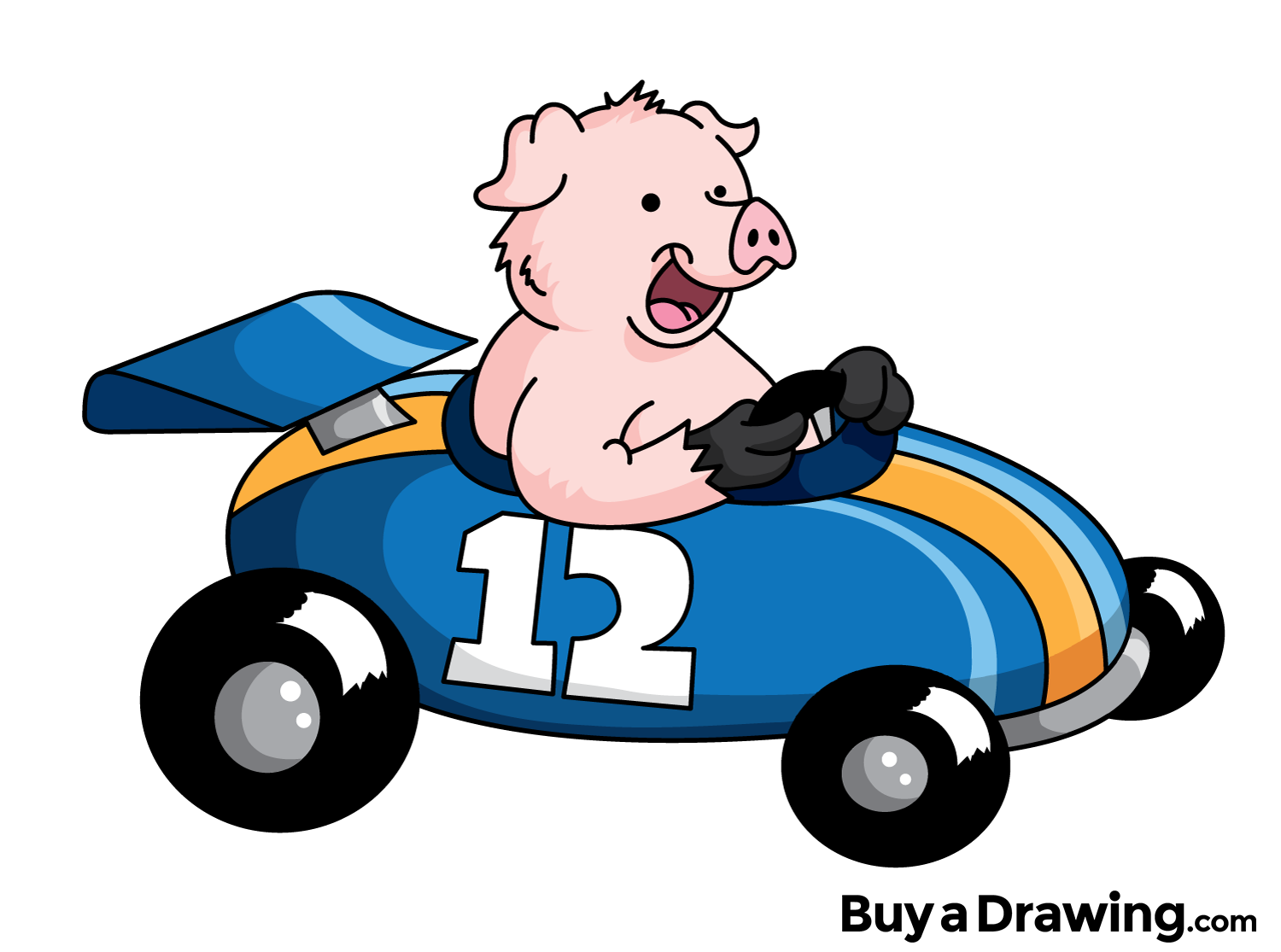 1500x1115 A Cartoon Pig In A Race Car That I Drew For The Heck Of It