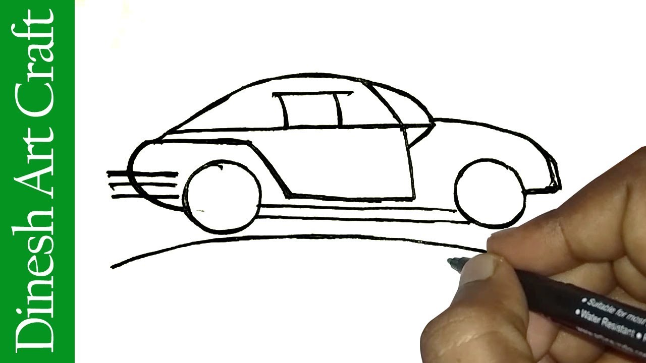 1280x720 How To Draw A Easy Race Car Easy Race Car Drawing For Kids