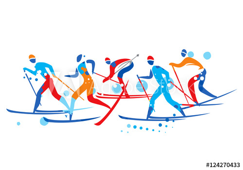 500x350 cross country ski race a stylized drawing of cross country ski