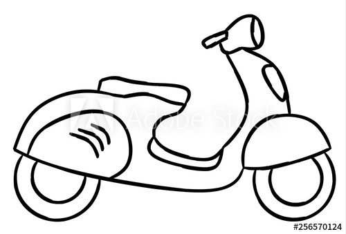 500x339 Hand Draw Style Of New Motorcycle Illustration For Coloring Book