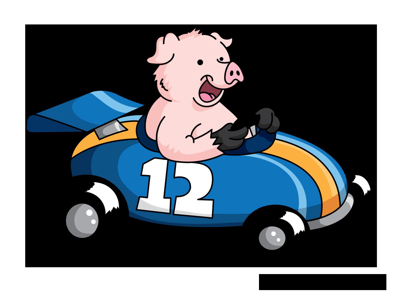 1500x1115 Racing Car Cartoon Pig Drawing