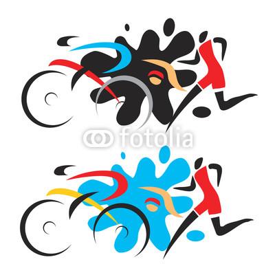 400x400 Triathlon Race Stylized Drawing Of Three Triathlon Athletes
