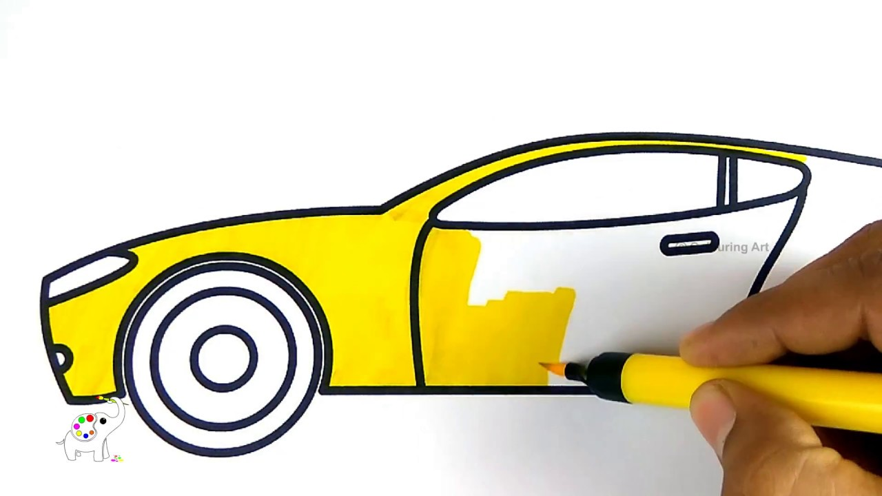 1280x720 How To Draw A Sports Car Easy Step Colouring Art Drawing For Kids