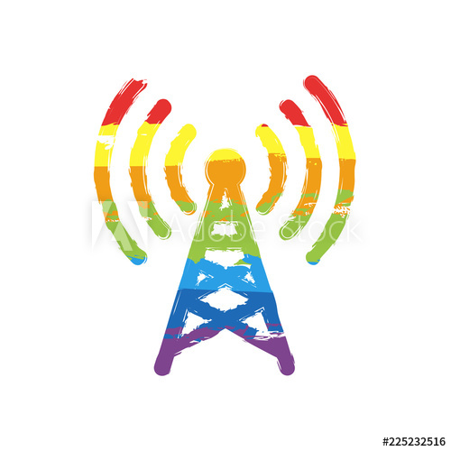 500x500 radio tower icon linear style drawing sign with lgbt style