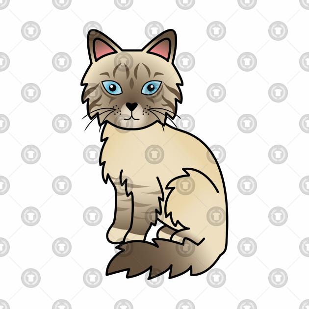 630x630 Chocolate Point Tabby Birman Ragdoll Cute Cat Illustration