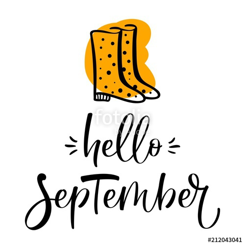 500x500 Hand Drawn Typography Lettering Phrase Hello, September With Rain