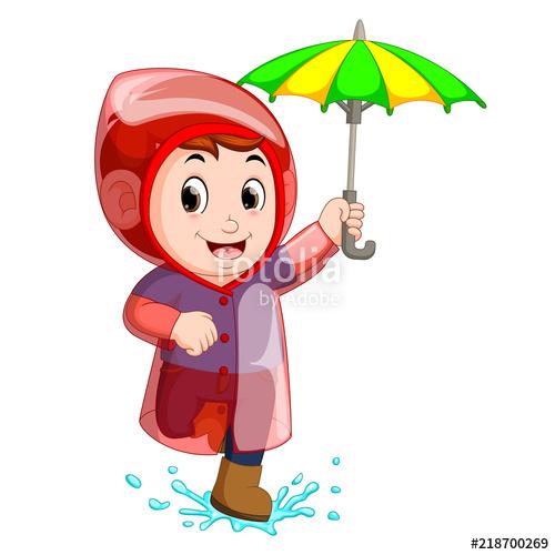 500x500 little boy wearing raincoat and holding umbrella stock image