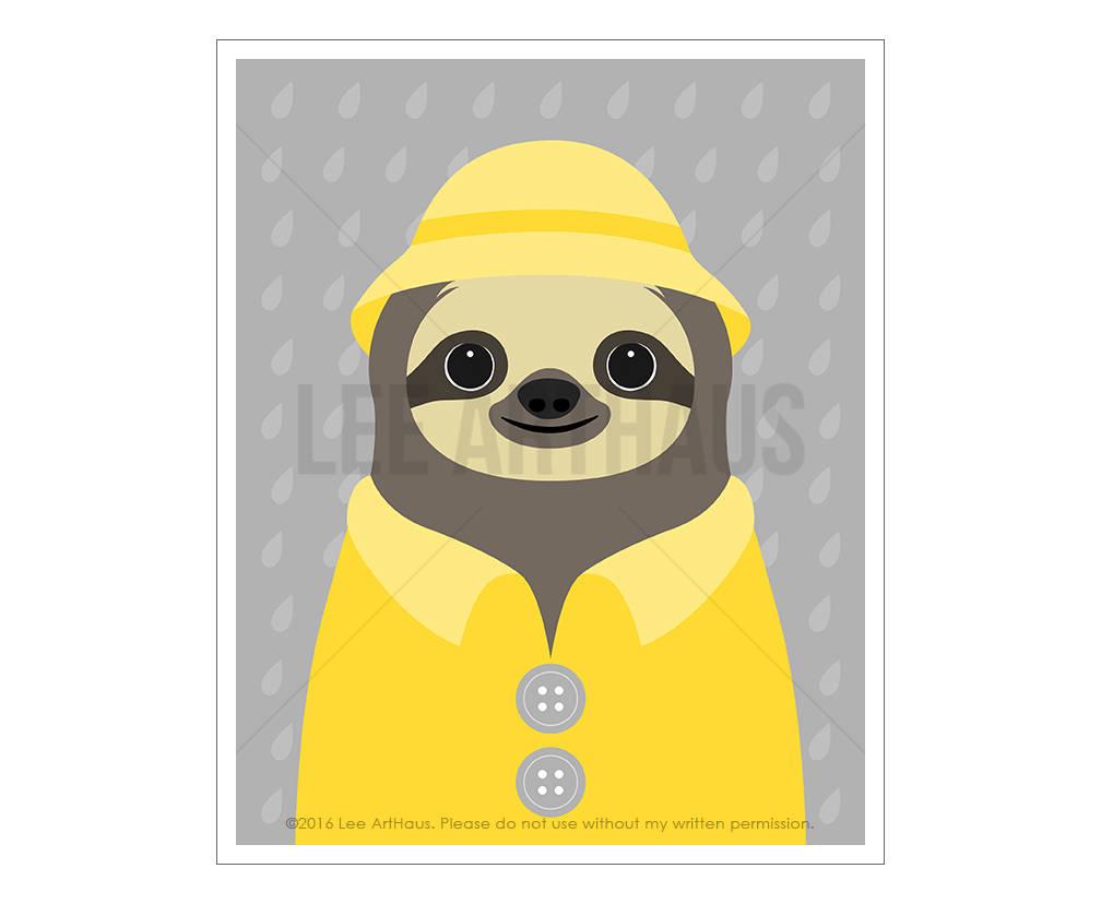1008x828 sloth drawing sloth wearing yellow raincoat wall art etsy