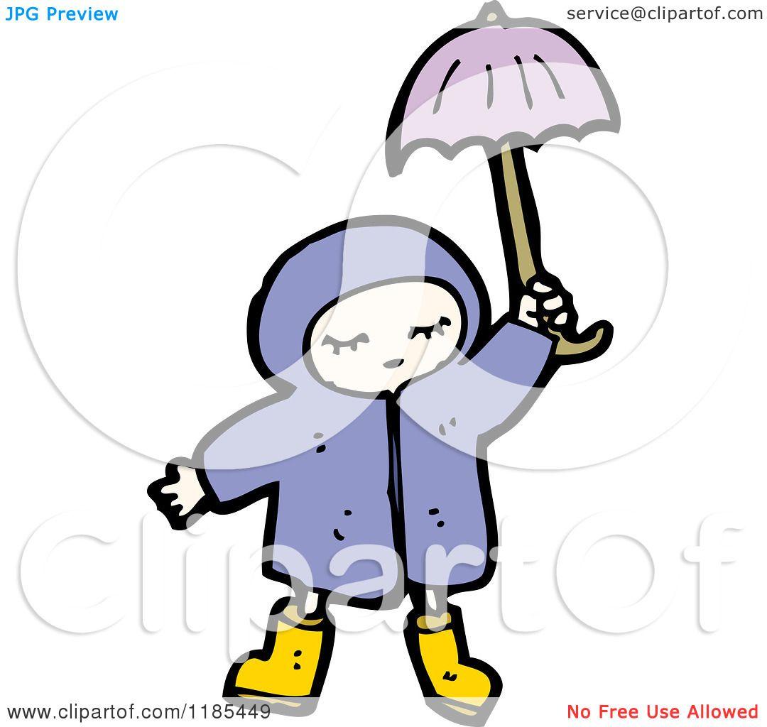 1080x1024 cartoon of a child wearing a raincoat holding an umbrella
