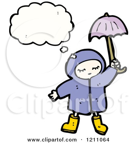 450x470 cartoon of a child in a raincoat thinking